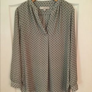 Loft navy and cream print blouse